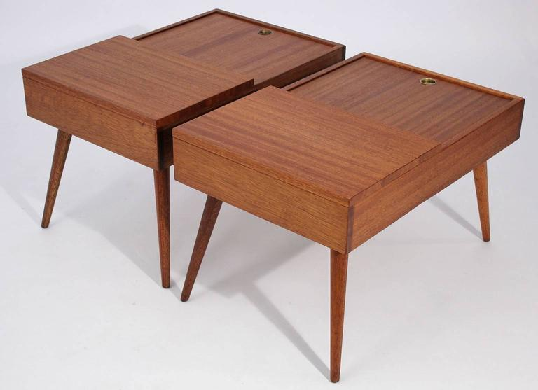Brown Saltman End Tables by John Keal In Excellent Condition For Sale In San Diego, CA