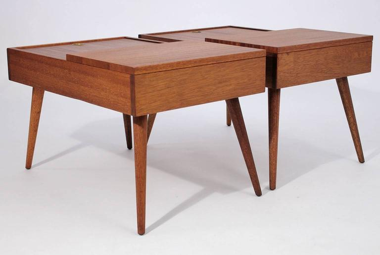 Mid-20th Century Brown Saltman End Tables by John Keal For Sale