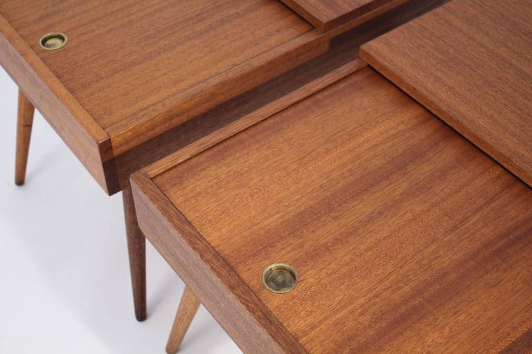 Brown Saltman End Tables by John Keal For Sale 1