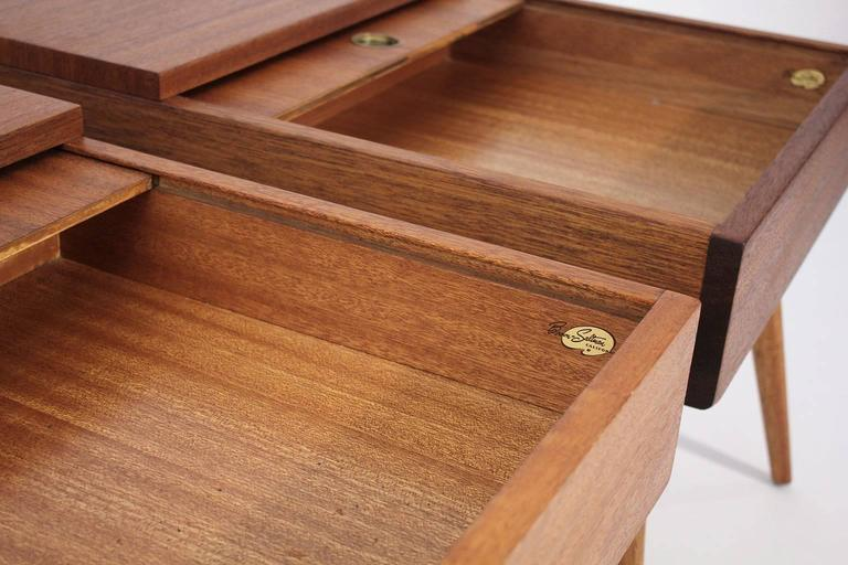 Brown Saltman End Tables by John Keal For Sale 2