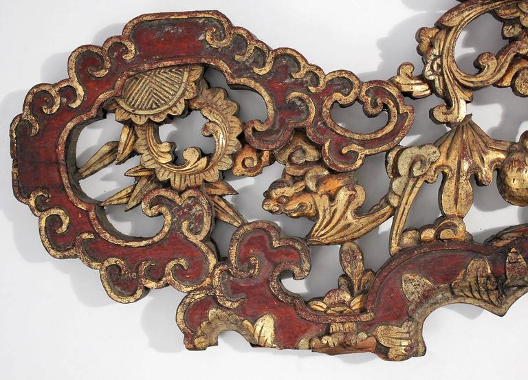 19th Century Large Antique Chinese Gold Gilt Carved Wood Wall Plaque For Sale