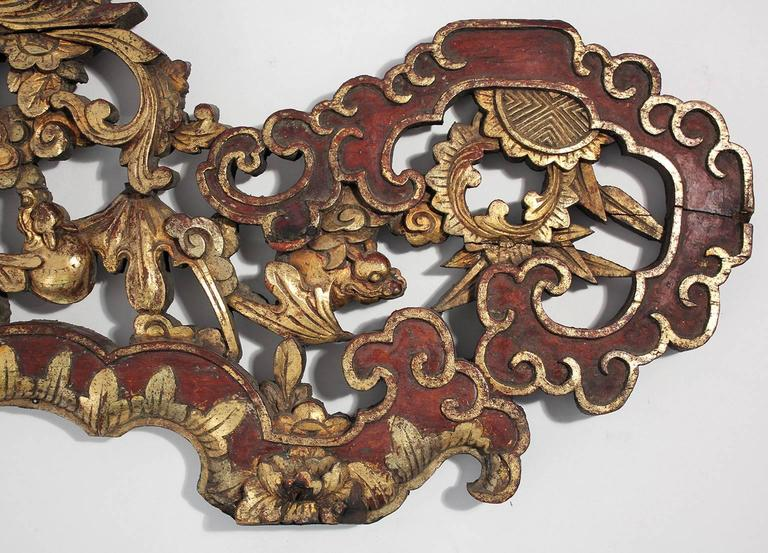 Large Antique Chinese Gold Gilt Carved Wood Wall Plaque For Sale 2