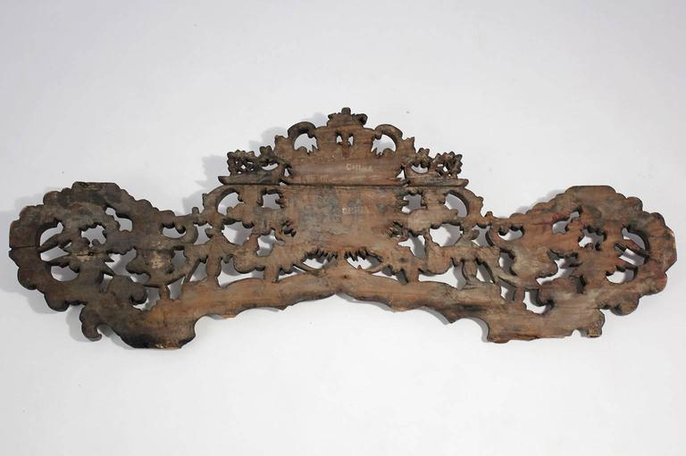 Large Antique Chinese Gold Gilt Carved Wood Wall Plaque For Sale 6