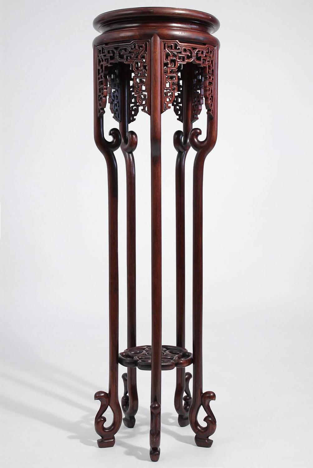 Antique Chinese Carved Rosewood Floor Plant Stand For Sale