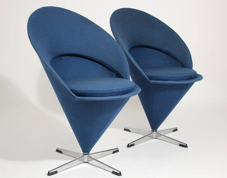 1960s verner panton cone chairs denmark with original. Black Bedroom Furniture Sets. Home Design Ideas