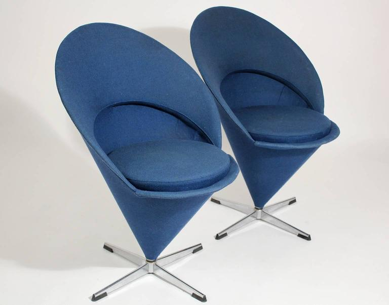 1960s verner panton cone chairs denmark with original fabric for sale at 1stdibs. Black Bedroom Furniture Sets. Home Design Ideas