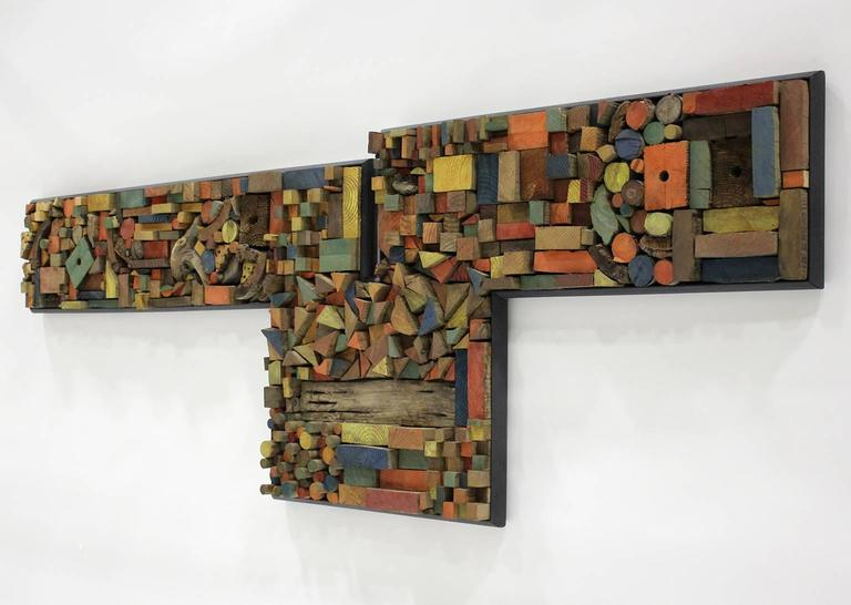 American Large Painted Wood Abstract Wall Sculpture Construction For Sale