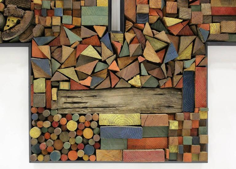 Late 20th Century Large Painted Wood Abstract Wall Sculpture Construction For Sale