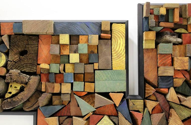 Large Painted Wood Abstract Wall Sculpture Construction For Sale 2
