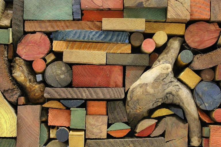 Large Painted Wood Abstract Wall Sculpture Construction For Sale 3