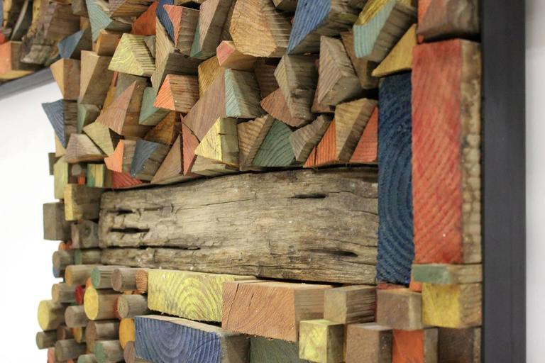 Large Painted Wood Abstract Wall Sculpture Construction For Sale 4