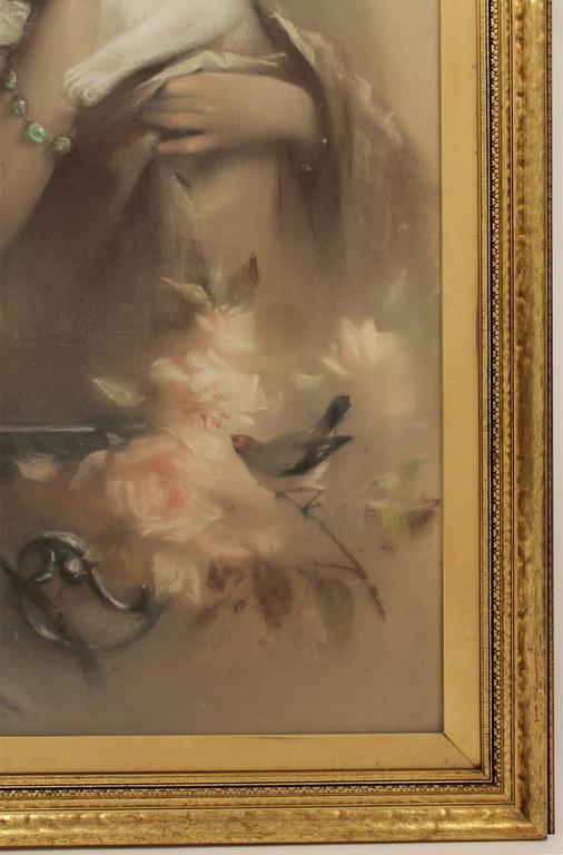 19th Century Antique Austrian Artist Heinrich Hans Schlimarski Lady with Cat Painting For Sale