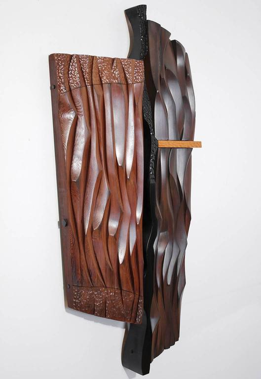 Mid-Century Modern 1960s Abstract Carved Wood Wall Sculpture For Sale