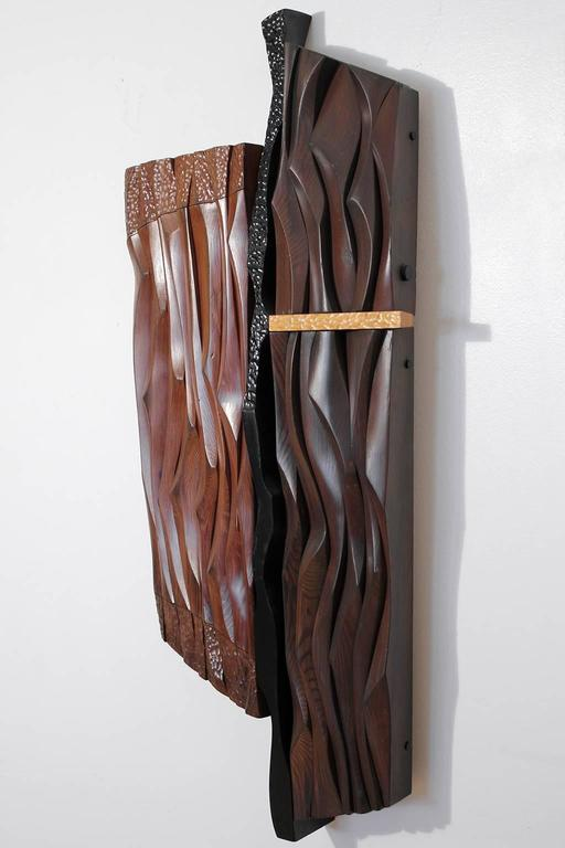 American 1960s Abstract Carved Wood Wall Sculpture For Sale