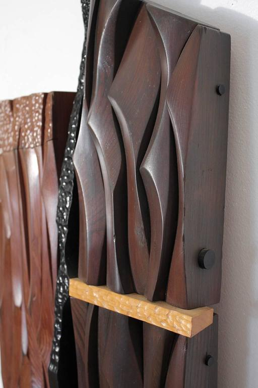 1960s Abstract Carved Wood Wall Sculpture For Sale 1