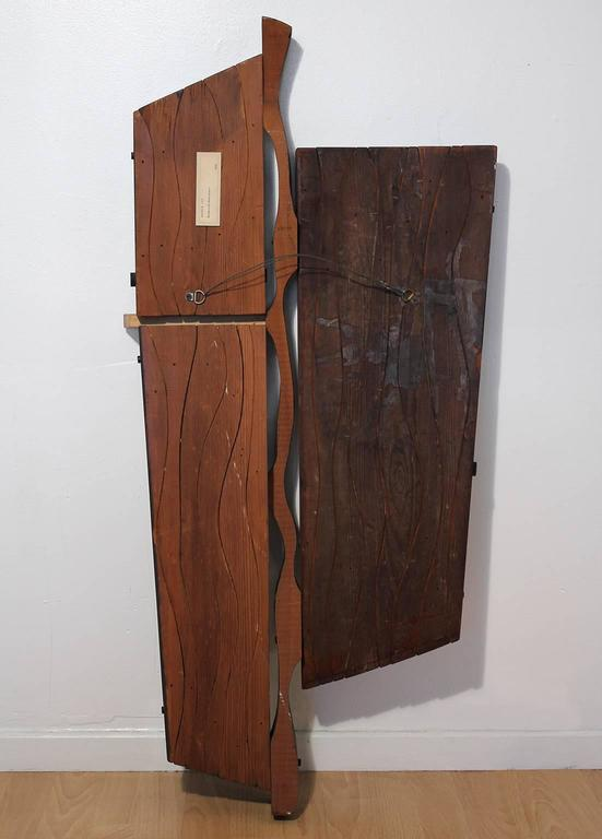 1960s Abstract Carved Wood Wall Sculpture For Sale 3