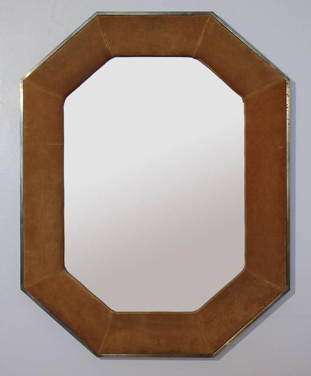 American Widdicomb Leather and Brass Octagonal Mirror For Sale