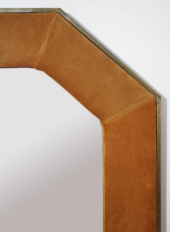 Widdicomb Leather and Brass Octagonal Mirror In Excellent Condition For Sale In San Diego, CA