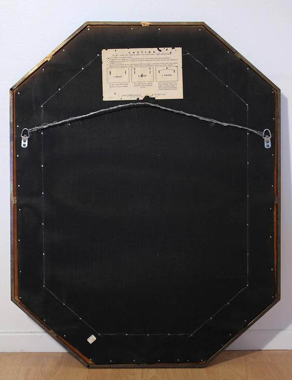 Widdicomb Leather and Brass Octagonal Mirror For Sale 3