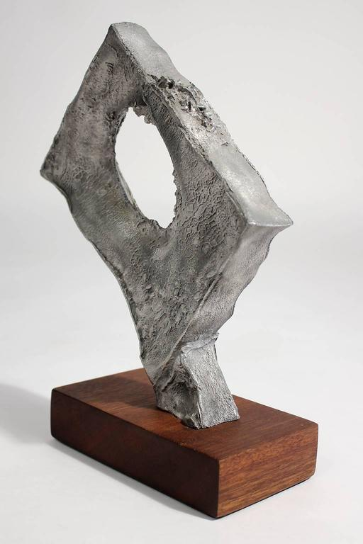 20th Century Abstract Modernist Aluminium and Walnut Free-Form Sculpture For Sale