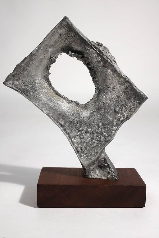 Aluminum Abstract Modernist Aluminium and Walnut Free-Form Sculpture For Sale