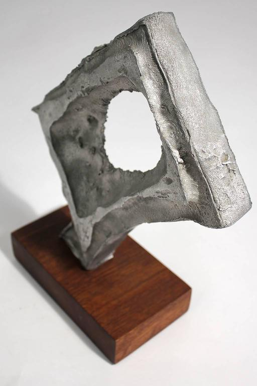 Abstract Modernist Aluminium and Walnut Free-Form Sculpture For Sale 1