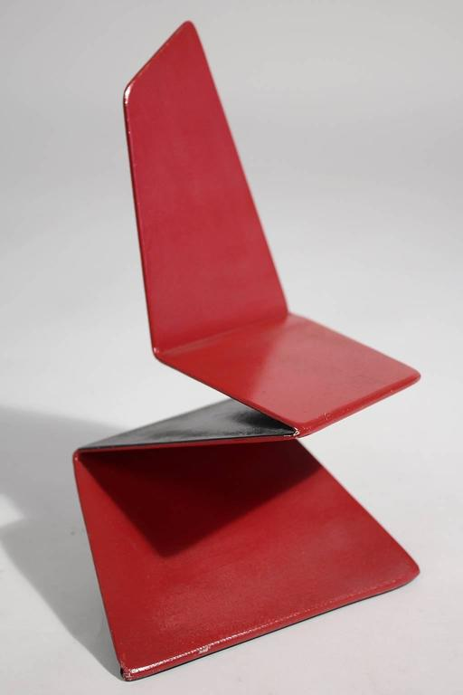 Original Bruce Gray abstract enamel and steel chair design model sculpture. Signed and dated by the artist. In excellent shape and is one of a kind. Great sculpture by this listed artist.