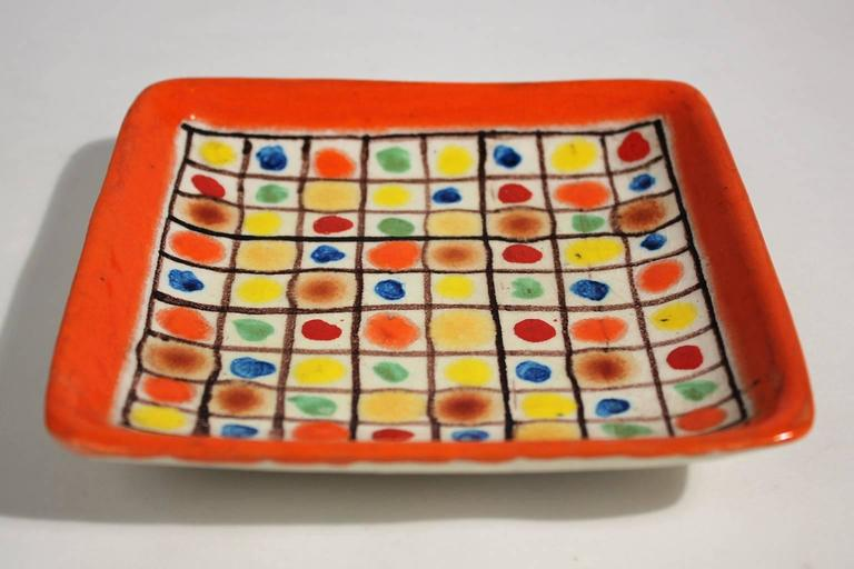 Stunning modernist Italian ceramic polychrome tray or plate by Guido Gambone. Rarely seen color dot design. In excellent shape and is signed on back.