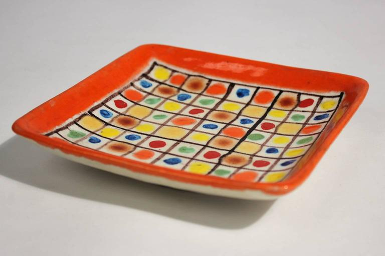 Mid-Century Modern Guido Gambone Ceramic Italian Modernist Abstract Polychrome Pottery Tray Plate For Sale