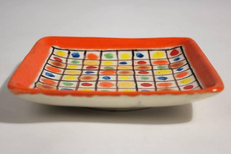 Guido Gambone Ceramic Italian Modernist Abstract Polychrome Pottery Tray Plate In Excellent Condition For Sale In San Diego, CA