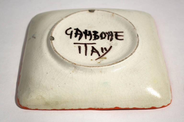 Guido Gambone Ceramic Italian Modernist Abstract Polychrome Pottery Tray Plate For Sale 2