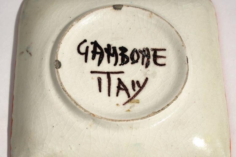 Guido Gambone Ceramic Italian Modernist Abstract Polychrome Pottery Tray Plate For Sale 3