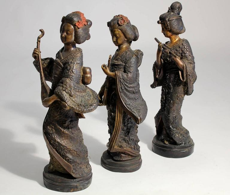 Cast Japanese Geisha Girl, Cold Paint Art Sculptures Figurines Set of Three For Sale