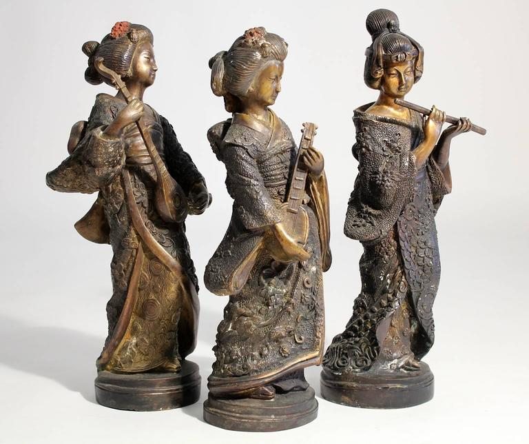 Japanese Geisha Girl, Cold Paint Art Sculptures Figurines Set of Three In Excellent Condition For Sale In San Diego, CA
