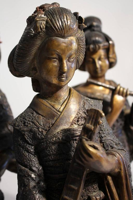 Japanese Geisha Girl, Cold Paint Art Sculptures Figurines Set of Three For Sale 1
