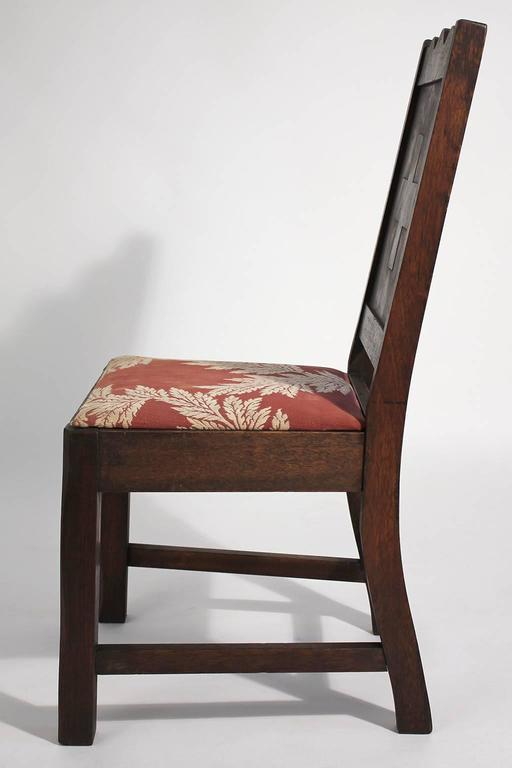 Antique Oak Arts & Crafts Hand Painted Monterey Mission Accent Chair from Church In Good Condition In San Diego, CA