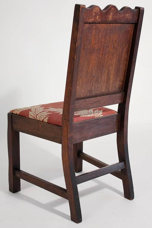 Antique Oak Arts & Crafts Hand Painted Monterey Mission Accent Chair from Church 1