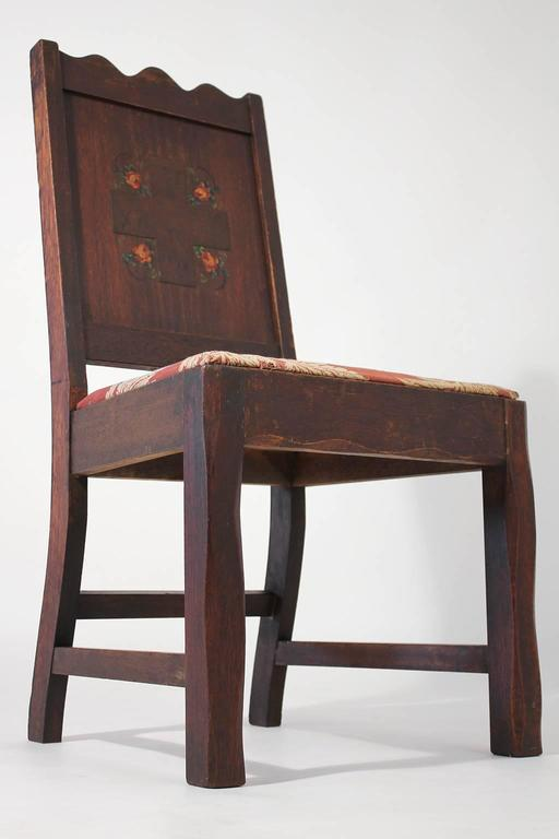 Antique Oak Arts & Crafts Hand Painted Monterey Mission Accent Chair from Church 2