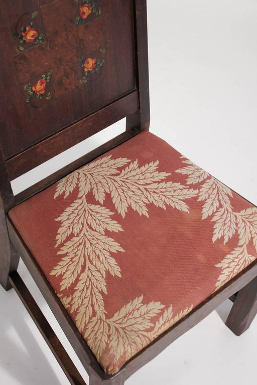 Antique Oak Arts & Crafts Hand Painted Monterey Mission Accent Chair from Church 3