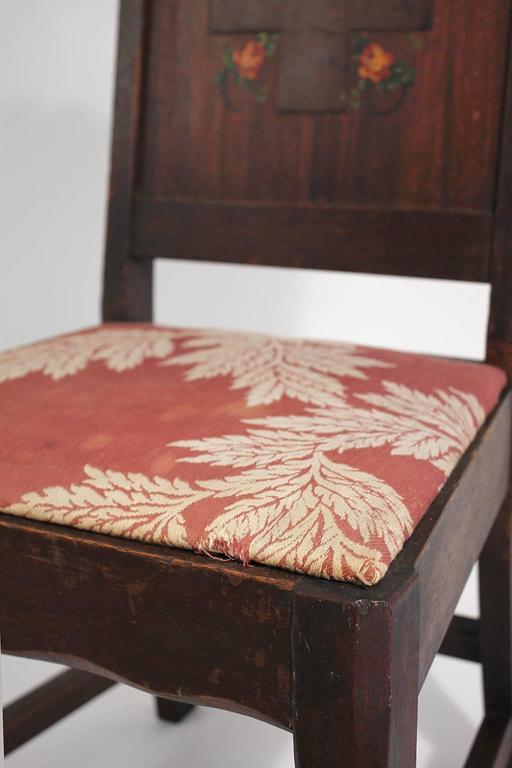 Antique Oak Arts & Crafts Hand Painted Monterey Mission Accent Chair from Church 4