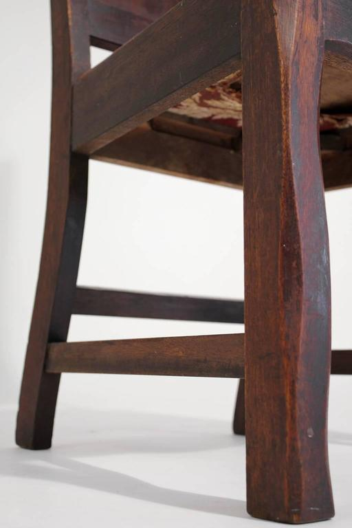 Antique Oak Arts & Crafts Hand Painted Monterey Mission Accent Chair from Church 6