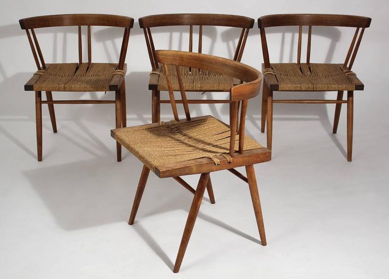 George Nakashima Grass Seat Walnut Chairs, circa 1950 2