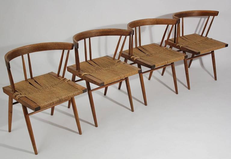 George Nakashima Grass Seat Walnut Chairs, circa 1950 3