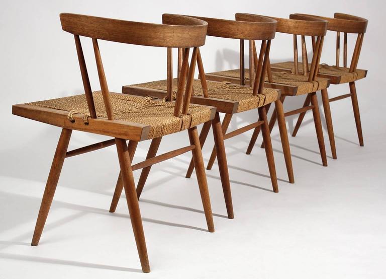 George Nakashima Grass Seat Walnut Chairs, circa 1950 4