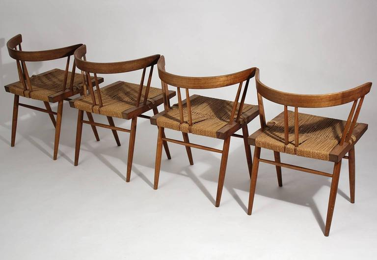 George Nakashima Grass Seat Walnut Chairs, circa 1950 5