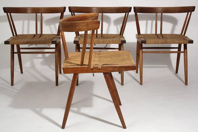 George Nakashima Grass Seat Walnut Chairs, circa 1950 6