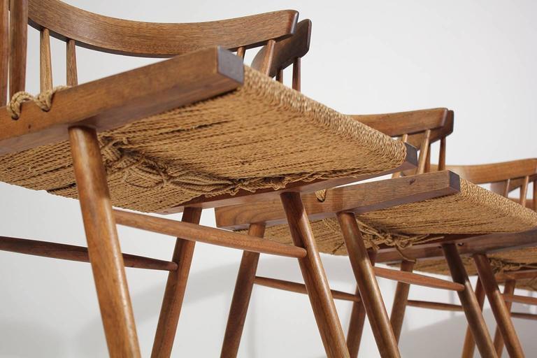George Nakashima Grass Seat Walnut Chairs, circa 1950 7