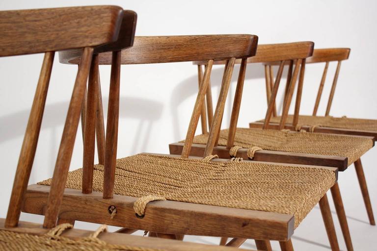 George Nakashima Grass Seat Walnut Chairs, circa 1950 8