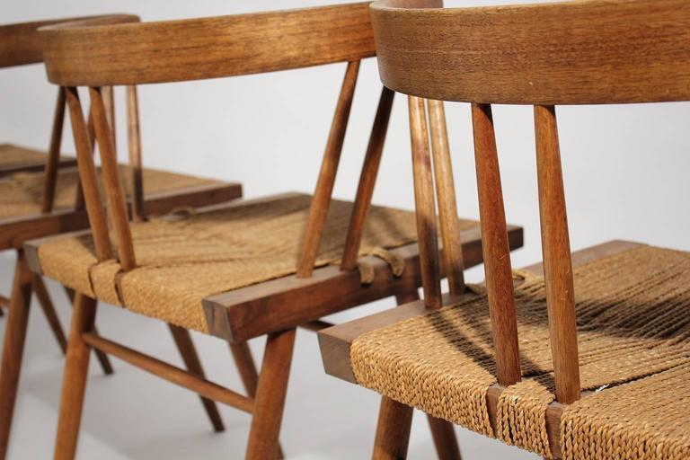 George Nakashima Grass Seat Walnut Chairs, circa 1950 9