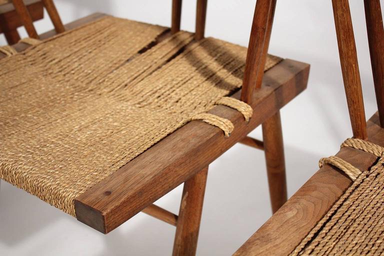 George Nakashima Grass Seat Walnut Chairs, circa 1950 10